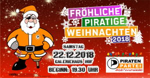 Weihnachtsfeier Piraten Hof/Wunsiedel am 22.12.2018 @ Galeriehaus Hof